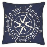 Rizzy Home Compass Pillow - Navy