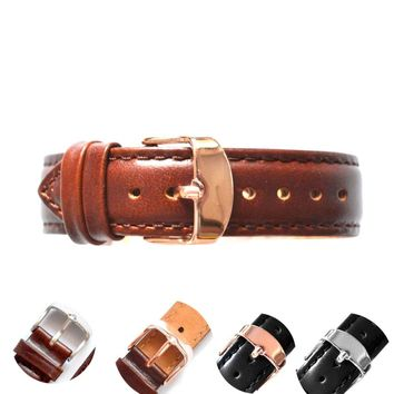 BUMVOR Cow Genuine leather Band Strap Mens Women Wrist Watch 18mm 20mm 22mm Watchband Leather Silver Gold Black Brown for DW