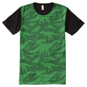 Green Dinosaur Pattern All-Over Print T-shirt