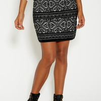 sweater skirt in nordic print