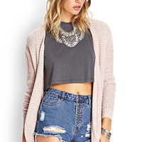 FOREVER 21 Draped Pocket Kimono Cardigan Blush