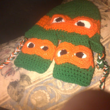 Crochet ninja turtle hat and fingerless glove sets made in all colours and sizes