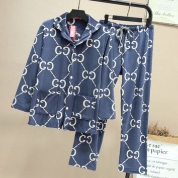 GUCCI Autumn and winter new fashion more letter print home service couple pajamas two piece suit Sapphire Blue