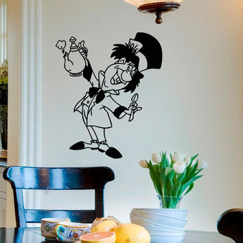 It's Always Tea Time Alice In Wonderland Wall Decal Vinyl Sticker- The Mad Hatter Wall Decals For Nursery- Wall Decal Kids Bedroom Q048