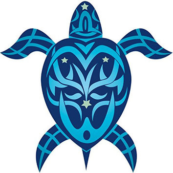 Tribal Honu Turtle - Hawaiian Art Decal - Car Window Bumper Sticker
