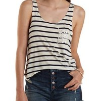 Ivory Combo Striped Crochet Pocket Tank Top by Charlotte Russe