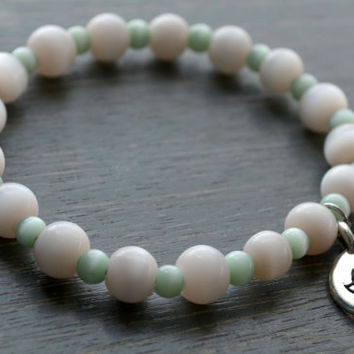 Graceful Mint + Cream Yogi Bracelet // Silver Lotus Flower Charm