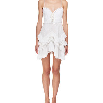 Isabel Marant Zowie Deep-V Sleeveless Crochet Lace Mini Dress