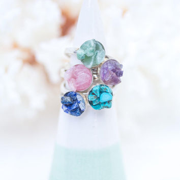 Raw Stone Ring Sterling Silver - Raw Gemstone Ring - Natural Druzy Ring - Rose Quartz Ring, Sterling Silver Turquoise Ring, Amethyst Jewelry
