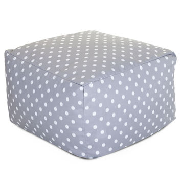 Gray Ikat Dot Large Ottoman