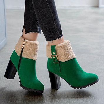 Chunky High Heel Buckle Suede Ankle Boots