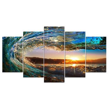 HD Print 5 piece canvas art Sunset in Waves Painting Modular picture paintings