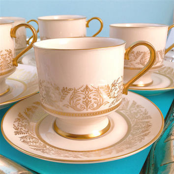 6 Vintage Tea Cups, Wedding China, Bridal Shower Tea Cups, Syracuse China Gold Riviera Teacups, Tea Sets, Coffee Cups