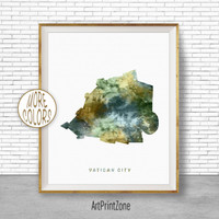 Vatican City Map Art, Vatican City Print, Watercolor Map,  Map Artwork, Country Art, Office Decorations, Country Map Art Print Zone