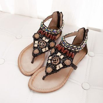 Design Stylish Summer Vintage Bohemia Flat Rhinestone Wedge Sexy Shoes Sandals [603170