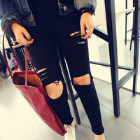 Fashion Women Casual Black High Waist Torn Jeans Hole Knee Skinny Pencil Pants Denim Ripped Jeans For Women