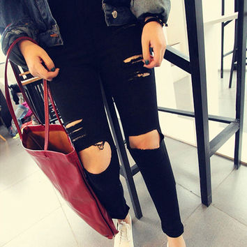 Women Casual Black High Waist Torn Jeans Hole Knee Skinny Pencil Pants Denim Ripped Jeans For Women SM6