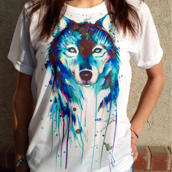 White Wolf Print Short Sleeve T-Shirt