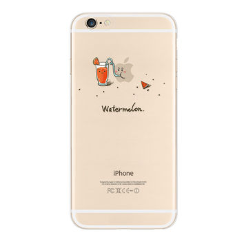 WATERMELON Full Coverage Transparent Silicon Case For iPhone 5/5s, iPhone 6/6Plus