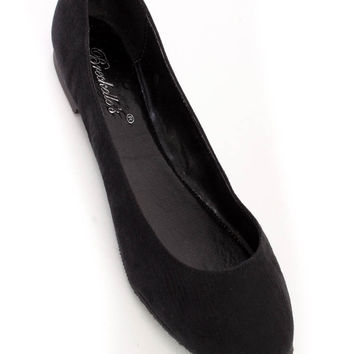 Black Casual Close Toe Flats Faux Suede