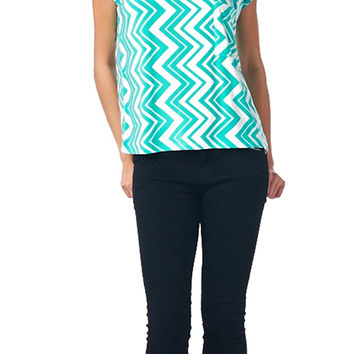 82 Days Women'S Poly Span Chevorn Print Sleeveless Blouse - Chevron