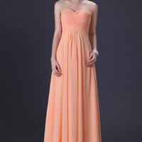 Light Orange Off Shoulder Cross Ruched Evening Gown