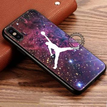 Air Jordan on Space Basketball iPhone X 8 7 Plus 6s Cases Samsung Galaxy S8 Plus S7 edge NOTE 8 Covers #iphoneX #SamsungS8
