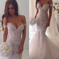 Vestidos De Novia Mermaid Bridal Gown Fish Tail Fashionable Sexy Wedding Dress Pearls Beaded Lace Appliques PA99