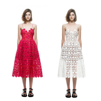 New S*P Handmade White/Red Sexy Deep V-neck Flower Lace Dress Runway Elegant Dresses Hollow Out Long Dress Shoulder-Straps