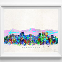 Anchorage Skyline Watercolor Print