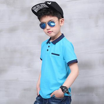 Pioneer Kids Summer big Boy Kids Children Striped Cotton Tops Sports Tee polo Shirts Clothes for school boys
