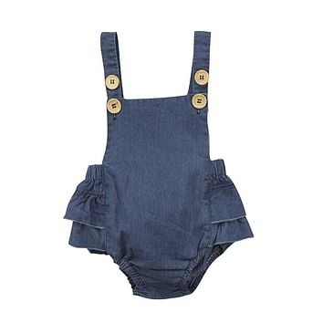 Hot Sale Denim Sleeless Romper Newborn Baby Girl Ruffle Jeans Romper  Summer Fashion Jumpsuit PP Pants Sunsuit Baby Clothing