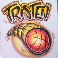 Airbrushed T-shirt Basketball Any Name Any Colors Any Size