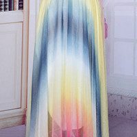 Multi-Colored Elastic Waist Sheer Chiffon  Skirt