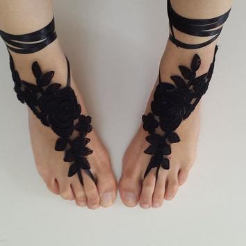 bridal, accessories, black lace, wedding sandals, shoes,  free shipping! Anklet, bridal sandals,  bridesmaids,  wedding  gifts.......