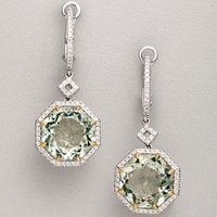 Dove's green agate and diamond drop earrings | BLUEFLY up to 70% off designer brands