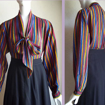 Vintage 80s G Gucci Italy Stripe Scarf Pussy Bow Tie Silk Button Front Blouse Sz42 M L