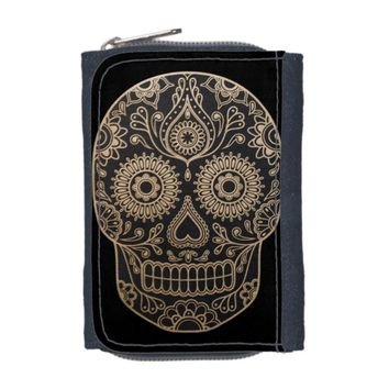 Day Dead Sugar Skull Denim Wallet
