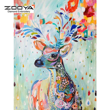 3D DIY Diamond Painting Cross Stitch Colorful Deer Crystal Needlework Diamond Embroidery Animal Full Diamond Decorative BJ473