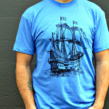 Mens Tshirt : SAIL SHIP Tshirt - Men's Athletic Blue Super Soft Tall Ship Tee