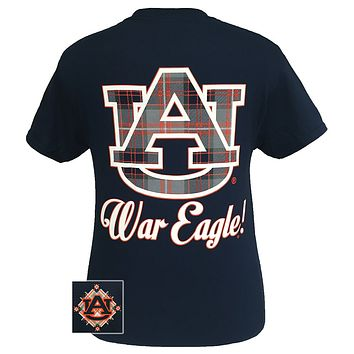 SALE Auburn Tigers War Eagle Plaid Big Logo Bright T-Shirt
