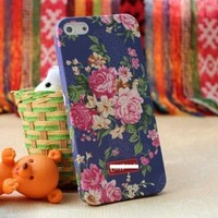 Westlinke Rural Floral Vintage Purple case Big Red Flower Back Cover Skin Case for Iphone 5+westlink Logo Stylus