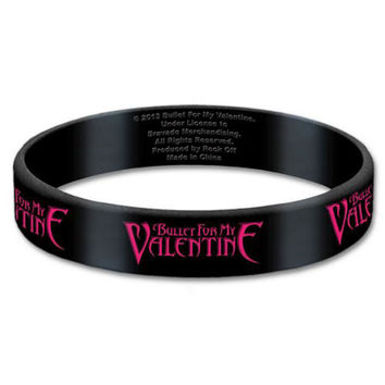Bullet For My Valentine Men's Logo Rubber Bracelet Black