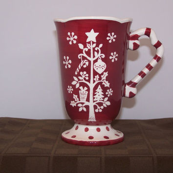 222 FIFTH Tivoli Latte Coffee Mug w/ Red Christmas Tree Background