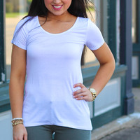Basic Scoop Neck Short Sleeve Top {White}