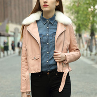 Detachable Faux Collar Velvet Biker Jacket