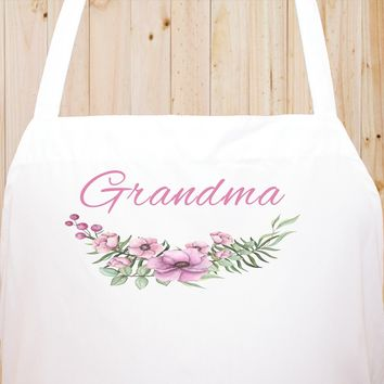 Custom Text Floral Flowers Chef Fun Kitchen Apron, BBQ Apron, Restaurant Apron Quality Cooks Clothing  FL18
