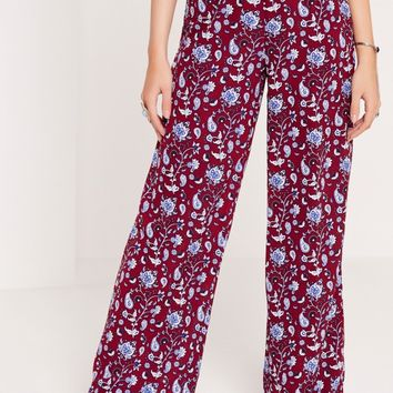 Missguided - Paisley Print Wide Leg Trousers Purple
