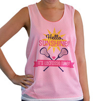 Girls Racerback Pinnie Hello Sunshine It's Lacrosse Time Coral | Lacrosse Racerbacks | Lacrosse Pinnies | Lacrosse Tank Tops | Pinnies for Lacrosse Players