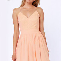 LULUS Exclusive Just Dance Backless Peach Lace Dress